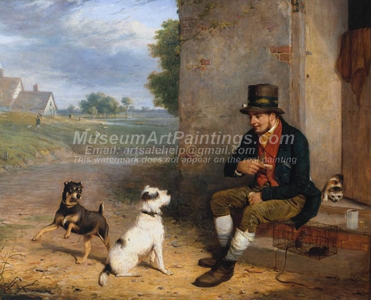 Village Paintings The Rat Catcher and His Dogs