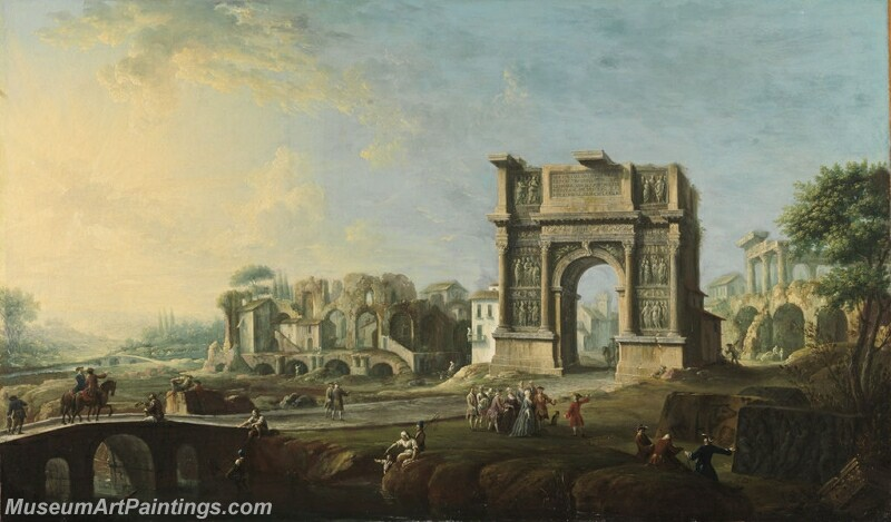 Visit of Queen Maria Amalia of Saxony at the Arch of Trajan in Benevento Painting