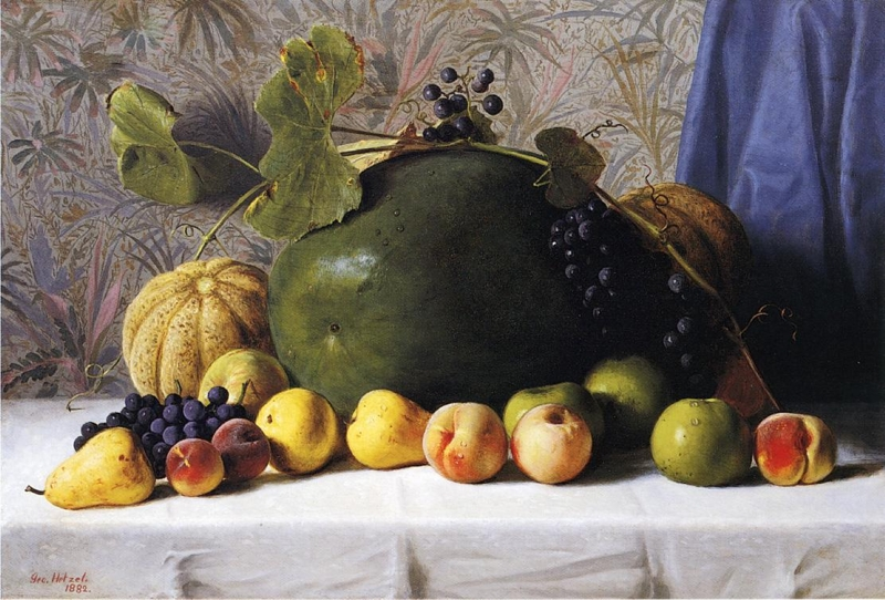 Watermelon Cantaloupes Grapes and Apples by George Hetzel