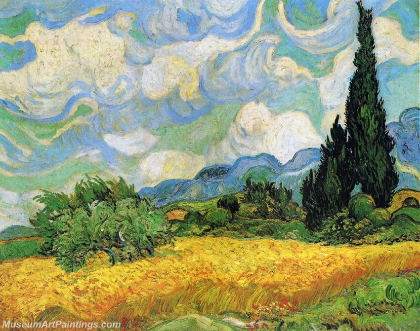 Wheat Field with Cypresses at the Haude Galline near Eygalieres Painting