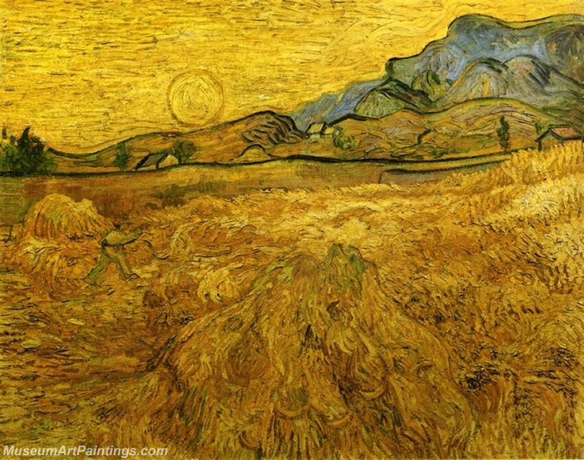 Wheat Field with Reaper and Sun Painting