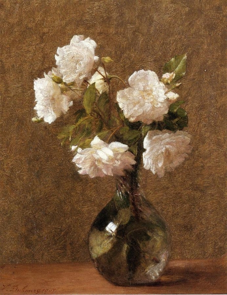 White Roses in a Vase by Victoria Fantin Latour