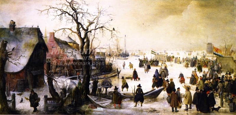 Winter Landscape with a Frozen Watercourse Painting