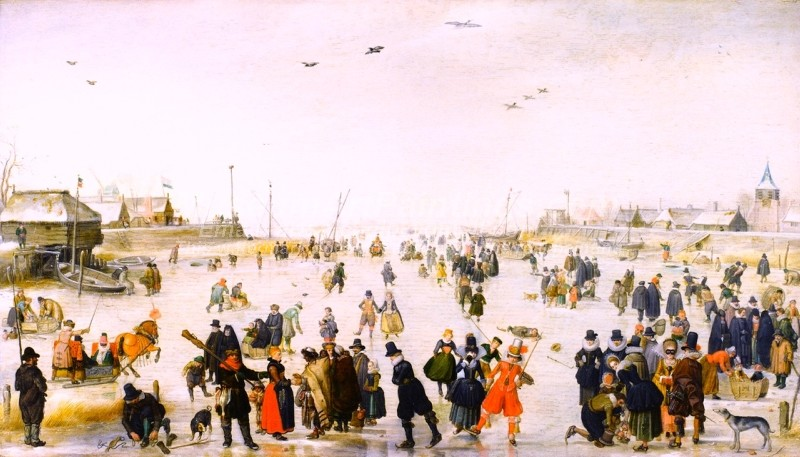 Winter Scene on a Frozen Canal Painting