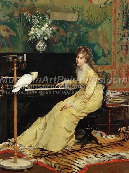 Woman At The Piano With A Cockato by Gustave Leonard de Jonghe