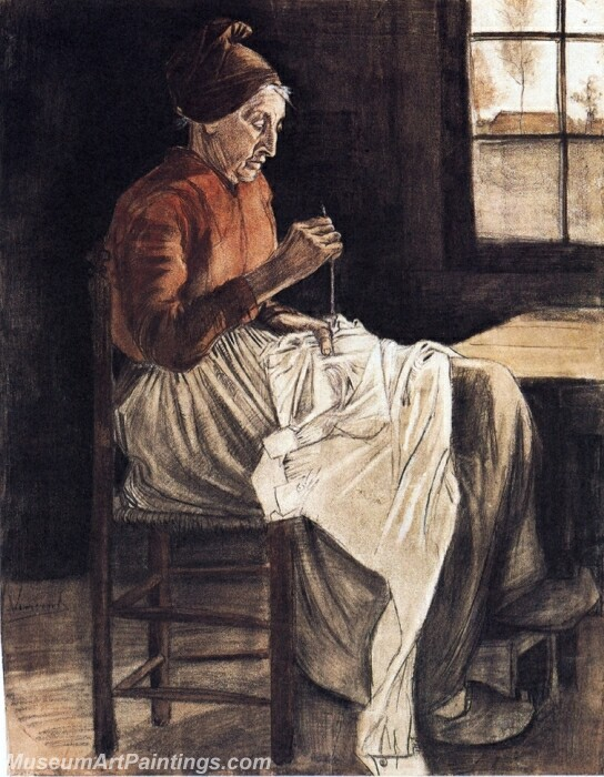 Woman Sewing Painting