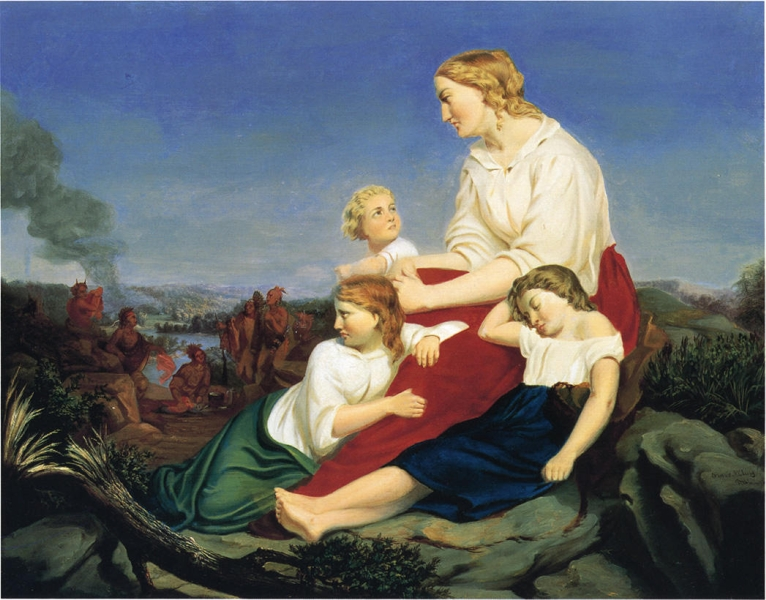 Woman and Children with Indian Massacre in the Background