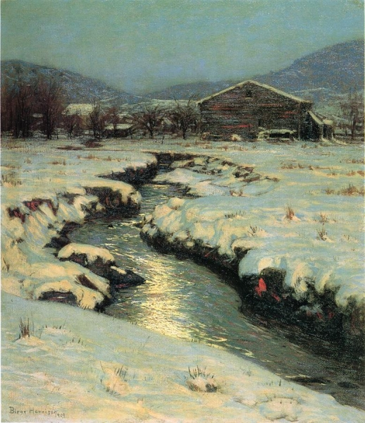 Woodstock Meadows in Winter by Lowell Birge Harrison