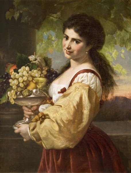 Young Italian Woman with Fruit Bowl by Carl Adolf Gugel