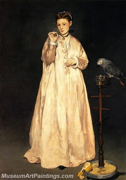 Young Lady with a Parrot Painting