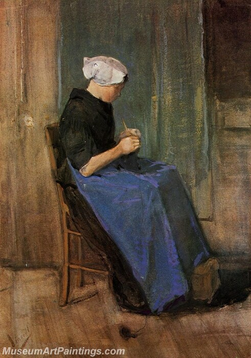 Young Scheveningen Woman Knitting Painting